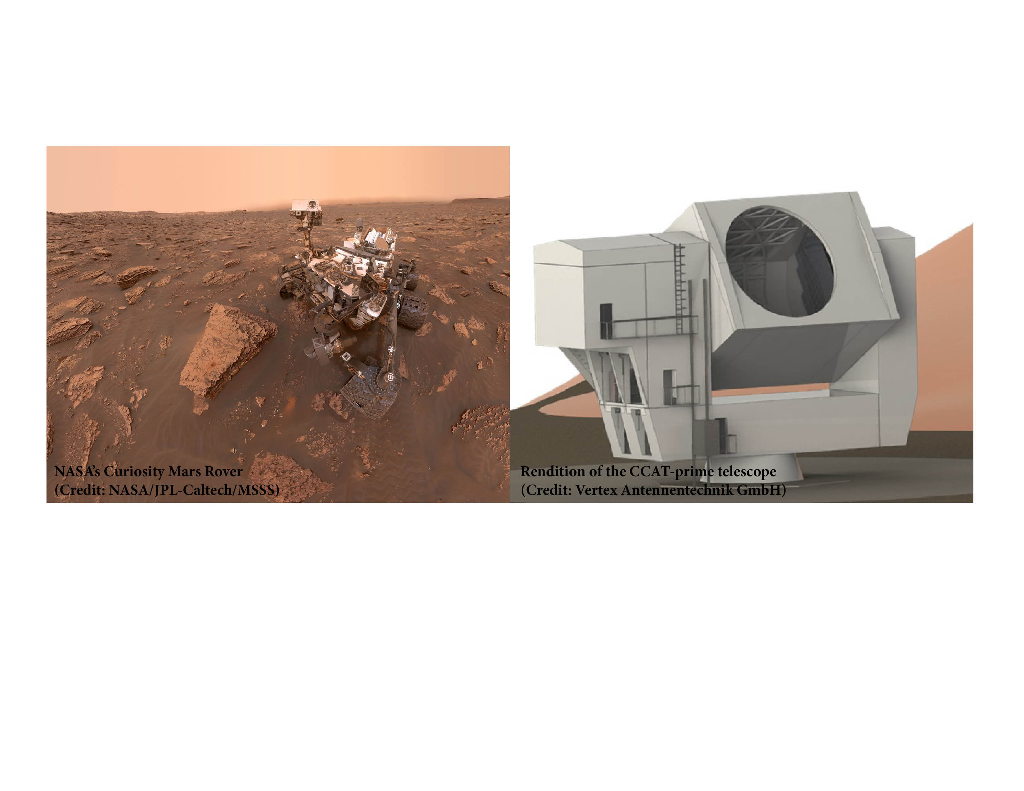The Curiosity Rover and a facsimile of the CCAT-Prime telescope