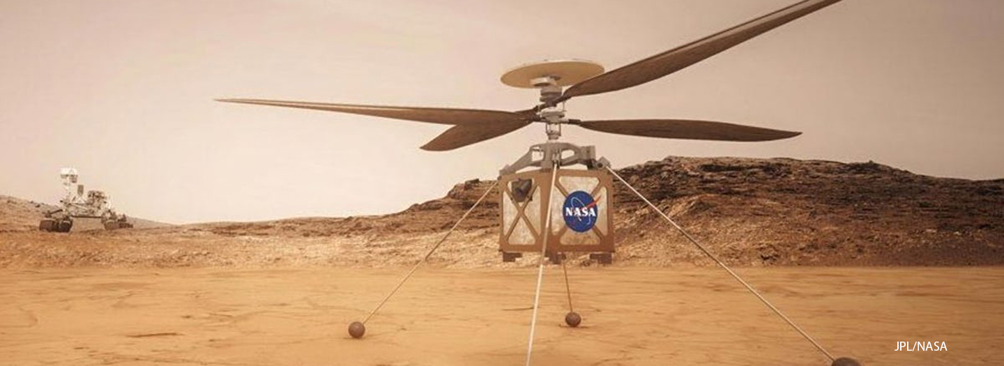 The Ingenuity helicopter and Perseverance rover on the surface of Mars